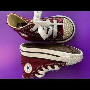 Maroon converse custom bling shoes